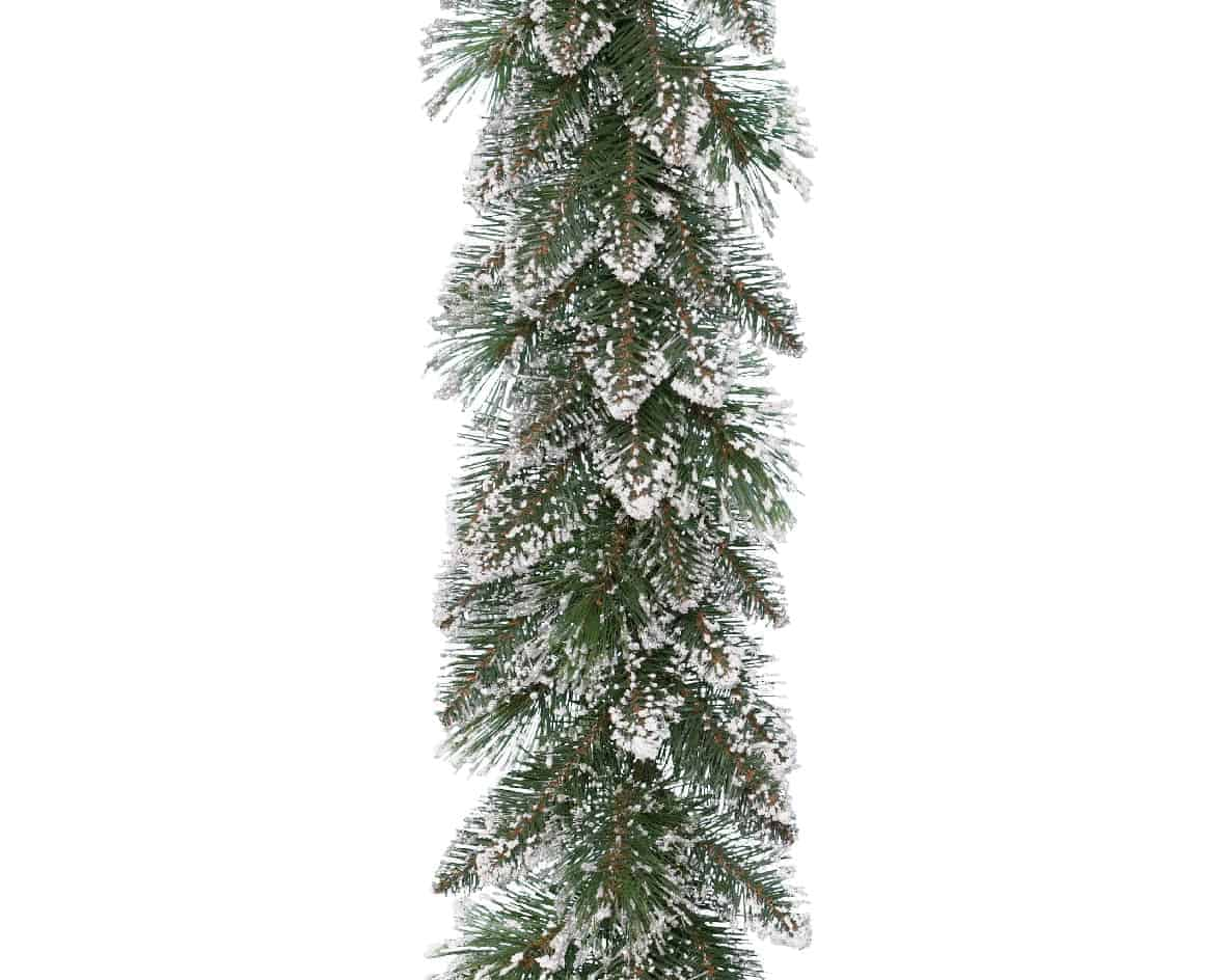 Christmas Garlands & Wreaths | 9ft Frosted Finley Pine Garland | Buy ...