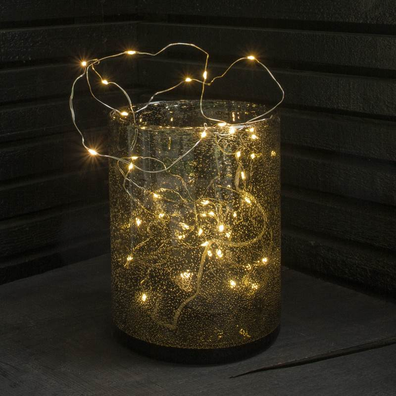 Indoor Christmas Lights Warm White Micro Led String Battery Operated 40 Lig