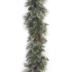 9ft Glittery Bristle Pine Christmas Garland with Cones