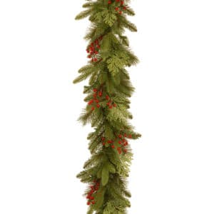 9ft Classical Collection Christmas Garland with Red Berries & Cedar Leaves