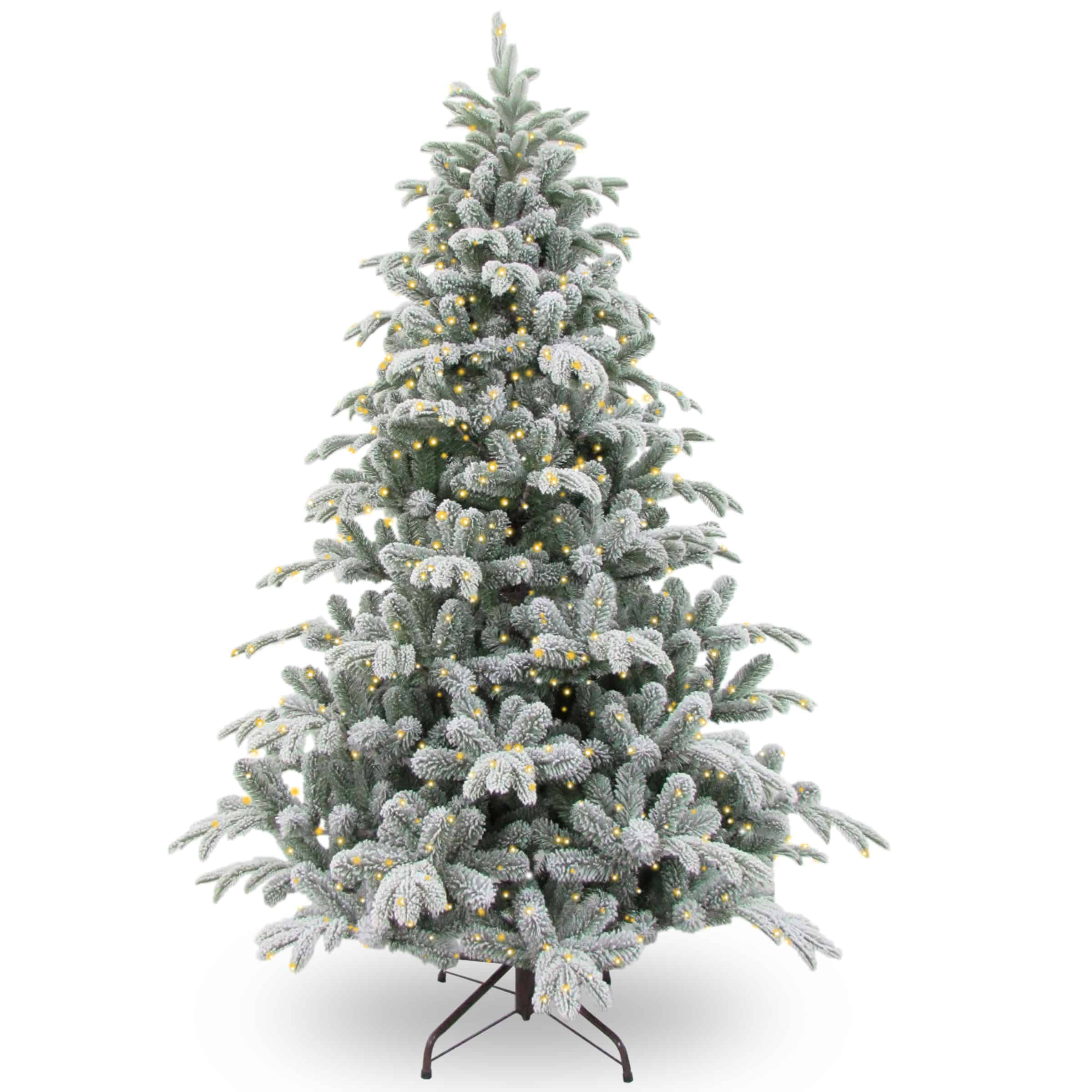 7 5 Ft Snowy Stanford Spruce Pre Lit Artificial Christmas Tree