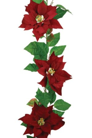 6ft Velvet Poinsettia Christmas Garland