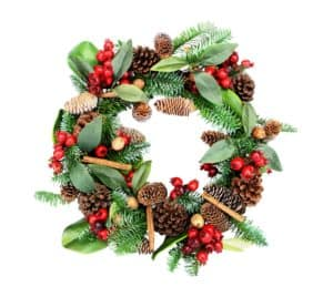"21"" (53cm) Fir Leaf Wreath with Berries, Cones and Cinnamon Sticks - Christmas Wreaths For Sale Dublin Ireland"