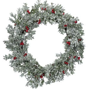 "24"" (60cm) Silver Glitter Leaf Christmas Wreath With Red Berries"
