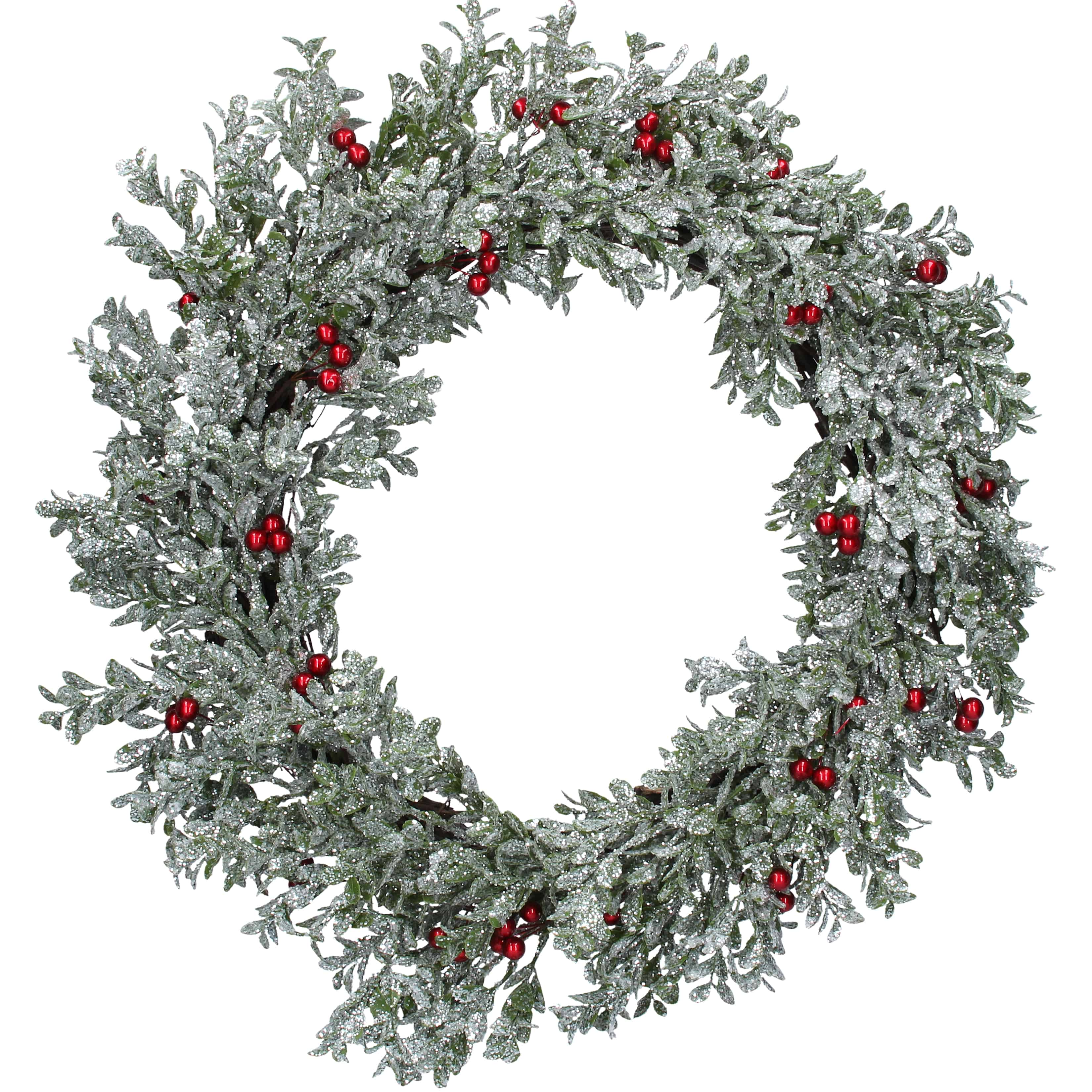 Image Christmas Wreath.24 61cm Silver Glitter Leaf Christmas Wreath With Red Berries