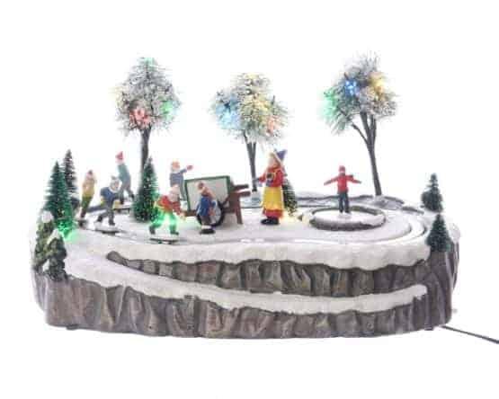 Christmas scenes motorized ice rink scene with led