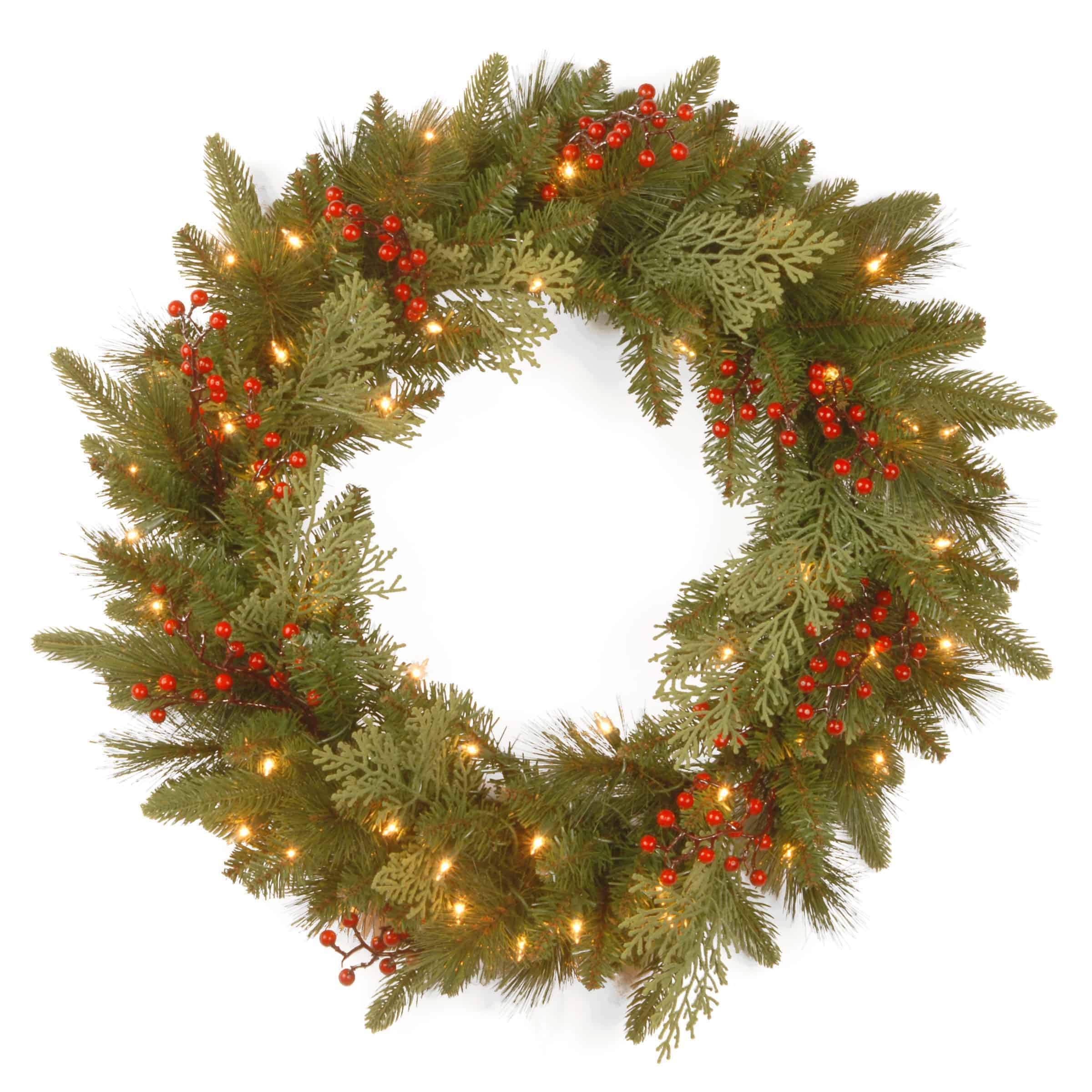 Christmas Wreath.30 76cm Classical Collection Christmas Wreath With Warm Led Lights