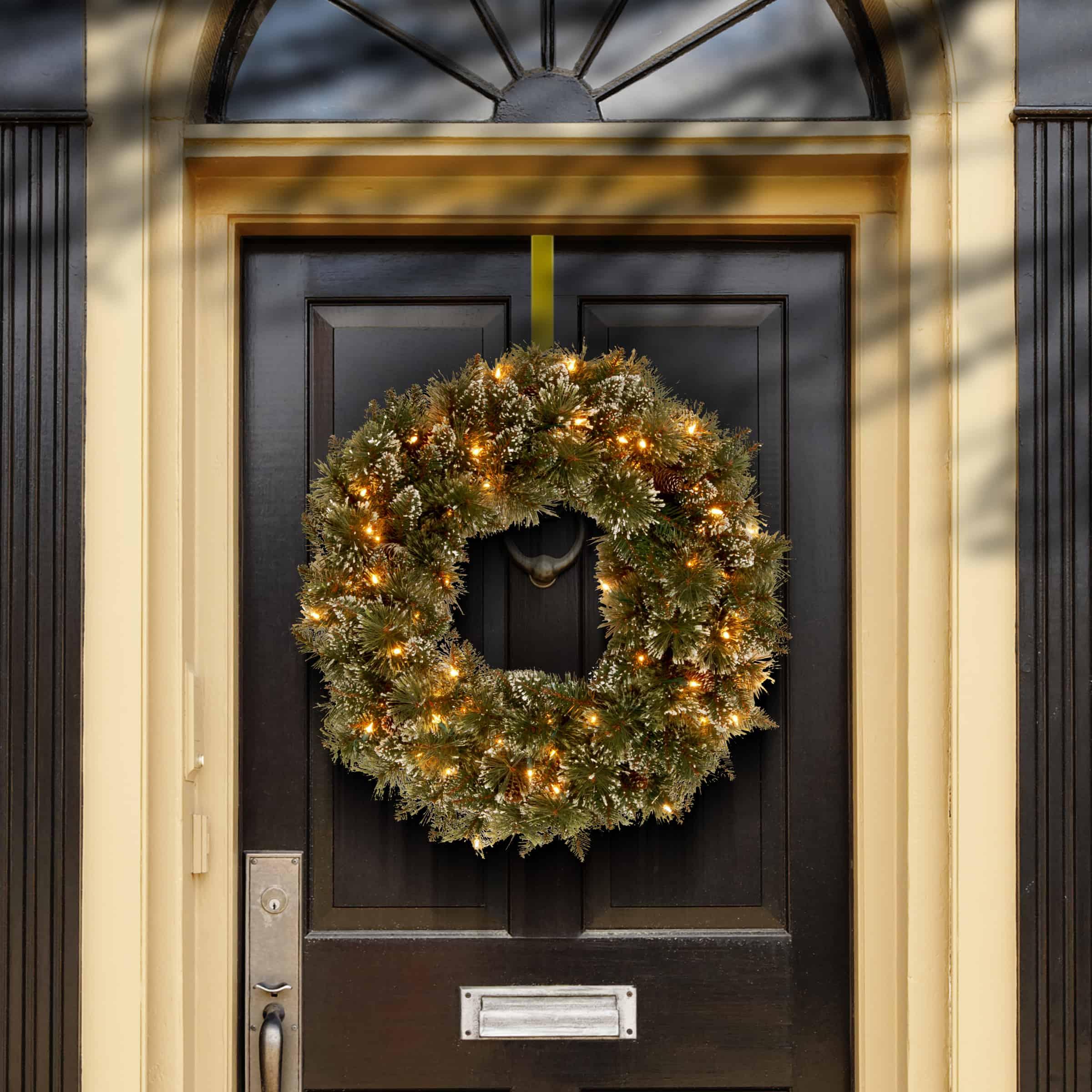 Glittery Bristle Pre-Lit Wreath - Christmas Wreaths For Sale Dublin Ireland