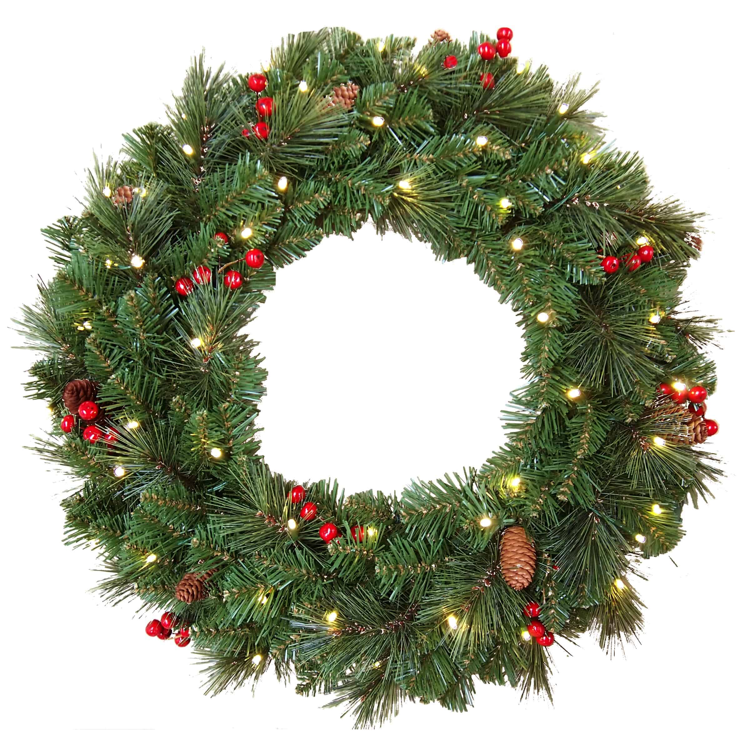Christmas Garlands.24 61cm Everyday Collection Christmas Wreath With Pine Cones Red Berries Pre Lit