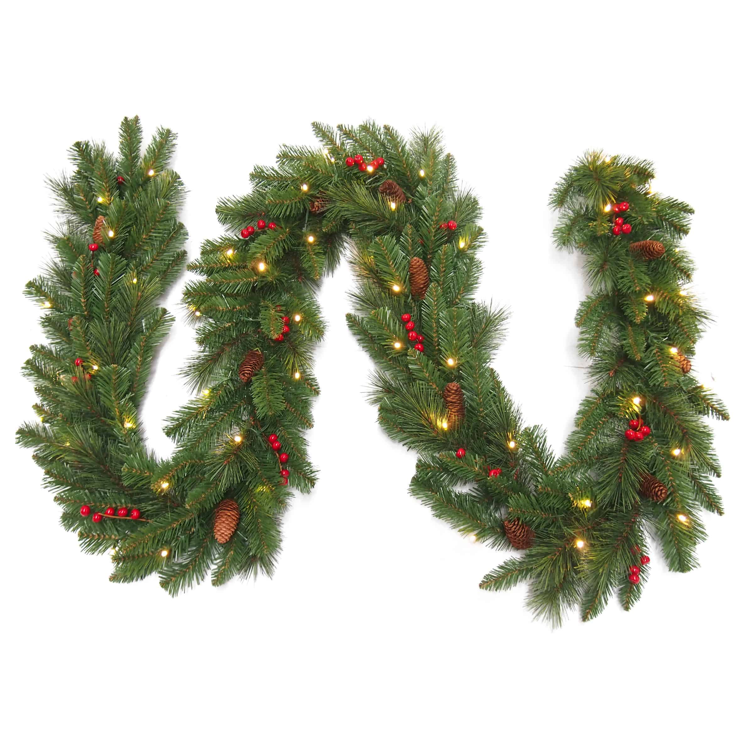 Christmas Garlands.9ft Christmas Garland With Pine Cones Red Berries Pre Lit