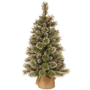 3ft Glittery Bristle Pine Small Artificial Christmas Tree with Cones in Burlap Sack