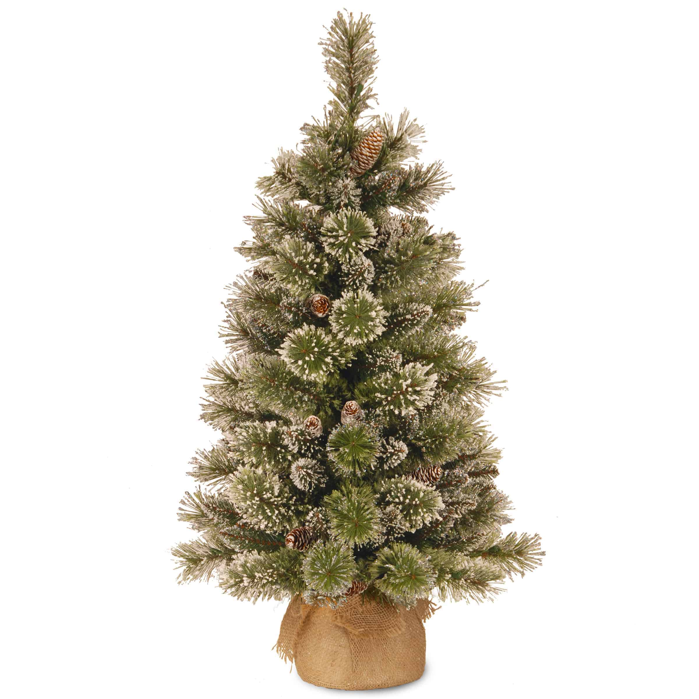 Artificial Christmas Trees Un Lit Christmas Trees Mini Artificial Christmas Trees Un Lit 3ft Glittery Bristle Pine Small Artificial Christmas Tree With Cones In Burlap Sack Christmasland Ie