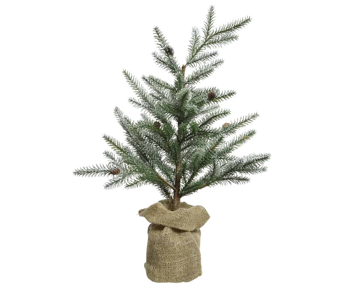 Snowy Mini Artificial Christmas Tree in Jute Bag - Artificial Christmas Trees For Sale Dublin Ireland
