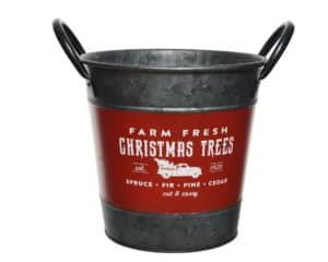 Iron Bucket Christmas Tree Stand Red