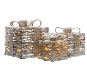 LED Snowy Rattan Gift Box Set - Christmas Lights For Sale Dublin Ireland