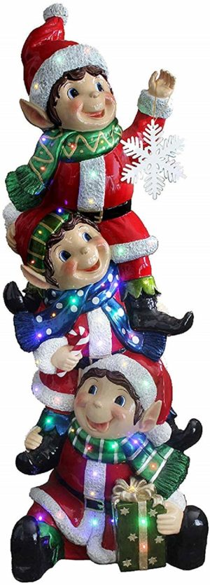 Stacking Elves Holding Snowflakes Christmas Display