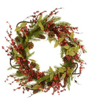 24″ (60cm) Twig/Pine/Berry Christmas Wreath *Online Only*