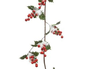 4ft Holly Berry Christmas Garland With Snow