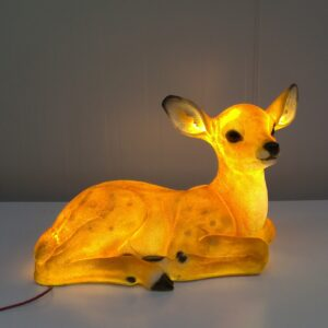 Laying Deer With Warm White LED Lights