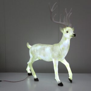 Standing Stag Deer With Cool White LED Lights