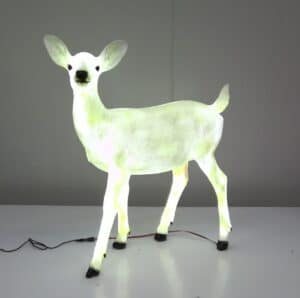 Standing Fawn Deer With Cool White LED Lights