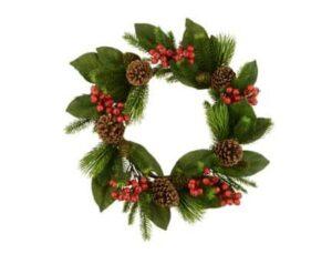 24″ (60cm) Magnolia Leaf & Berry Christmas Wreath