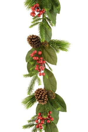 6ft Magnolia Leaf & Berry Christmas Garland *Online Only*