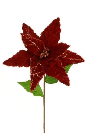 Luxury Red Velvet Giant Poinsettia With Glitter Trim *Online Only*