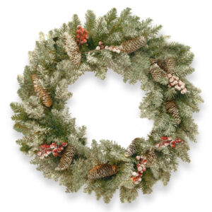"33"" (84cm) Snowy Dunhill Fir Christmas Wreath with Berries/Cones *Online Only*"