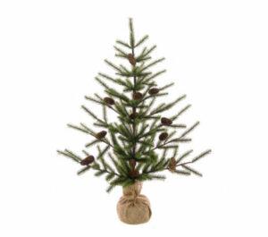 3ft Mini Artificial Christmas Tree In Burlap