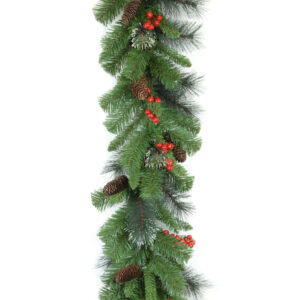 9ft Crestwood Spruce Christmas Garland With Pine Cones and Berries