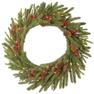 "24"" (60cm) Pre-Lit Dorcester Fir Christmas Wreath With Berries And Cones"