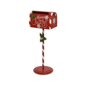 Christmas Zinc Santa Mailbox On Stand 89cm