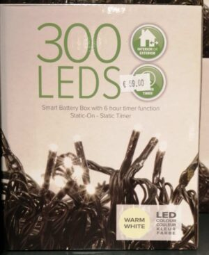 300 Battery Powered Warm White LED Christmas Lights