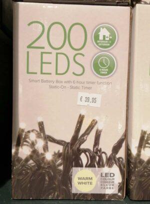 200 Battery Powered Warm White LED Christmas Lights