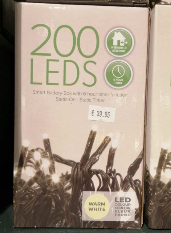 200 Warm white LED battery Lights - Christmas Lights For Sale Dublin