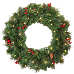 """24"""" (60cm) Everyday Collection Pre-Lit Christmas Wreath with Pine Cones, Red Berries and 50 LED Lights"""