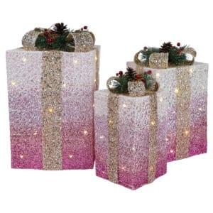LED Gift Box Set Of Three Pink/Gold